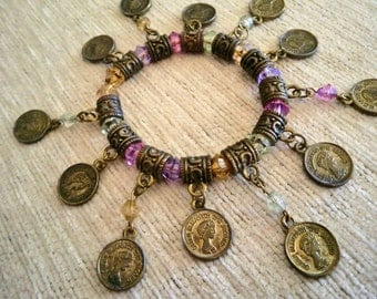 Vintagestyle Charm Bracelet Gypsy Bellydance Crystal Coin Charms
