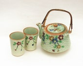 Vintage Basket Weave Tea Pot and Cups Green with Floral Design Circa 1920s