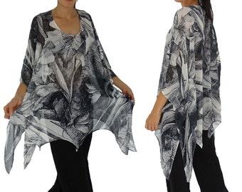 HO300ZT2 tunic blouse chiffon Gr. 44 46 48 50 52 54 black/white