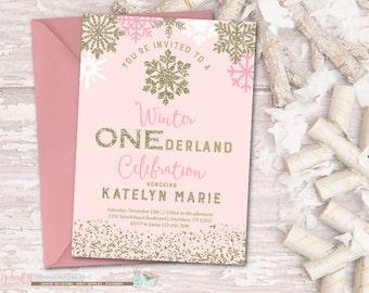 Winter Birthday Invitation, ONEderland Birthday Invitation, Snowflake Birthday Invitation, Winter Onederland, Pink and Gold Birthday