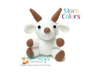 Crochet Goat- Goat Amigurumi, Crochet Animals, Crochet Toy, Goat Toy, Stuffed Animals, Goat Plush, Farm Animals- Custom Made to Order