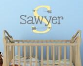 Boys Monogram Wall Decal  - Arrow Decal - Kids Decals - Kid Decal - Baby Nursery Decor