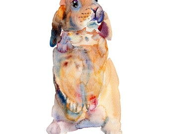 Rabbit - 8x10in - Animal  Painting - Watercolor  Painting - Nursery Art Print