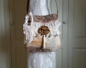 Shabby Chic Gypsy Bag - Romantic Boho Cross Body Bag - Boho Gypsy Purse - Upholstery and Lace Bag