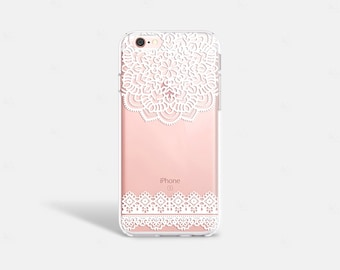 Lace iPhone Case Clear Lace iPhone 6S Plus Case Womens Accessories iPhone Case iPhone 6 Case Rubber Galaxy S7 Case Clear White Lace Note 5