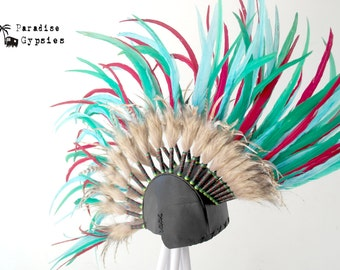 Festival Fabulous Turquoise Red Mix Feather & Leather 'Rocker Mohawk' Headdress by Paradise Gypsies