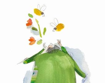 Spring illustration, bee illustration, scandinavian design, scandinavian folk art, naive art, scandinavian modern kids wall art, ORIGINAL