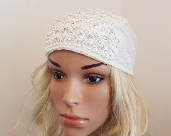 Festive White Lace Tichel , Head Wrap , White Head Scarf , Headwear , Snood , Chemo Cap , Headscarves , Hair Covering , Jewish Holiday