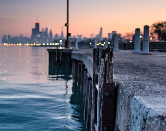 Chicago Photography, Chicago pier, Lake Michigan, Chicago sunset skyline, Willis Tower, Chicago Downtown, dusk, landscape 8x12 photo
