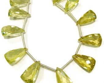 Lemon quartz elongated faceted trillions. Approx. 8x15mm.   Select a quantity.