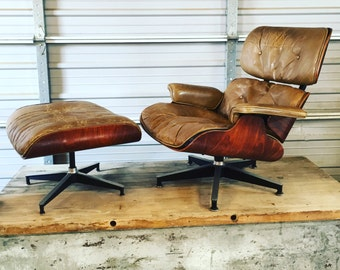 Eames Lounge & Ottoman for Herman Miller Brazilian Rosewood 670 / 671 Second Generation 50/50 Blend Fill