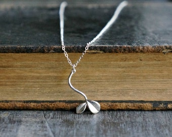Little Sprout Necklace in Silver / New Mom Necklace • Gift for Her • Tiny Plant Charm on a Sterling Silver Chain