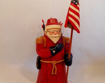 Hand Carved Santa, Patriotic Santa, Wood Santa, Wood Carved Patriotic Santa