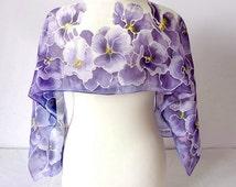 Silk scarf Pansy - hand painted scarf - violet scarf - purple scarf - pansy scarf - pansy silk scarves - spring scarf - flower scarf foulard