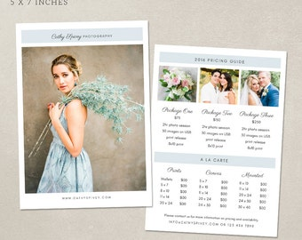 Photography Pricing Template - Pricing Guide MP010 - Photoshop template INSTANT DOWNLOAD