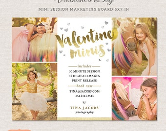 Valentine Mini Session, Photography Marketing Board - Photoshop Template for photographers MV016