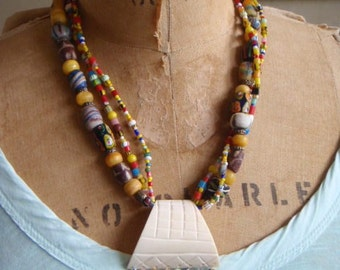 African Trade Triple Strand Necklace