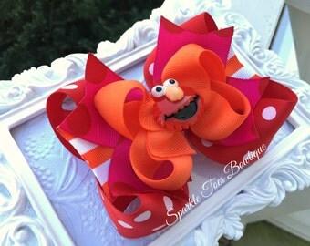 ELMO HAIR BOW Elmo Birthday Elmo costume Sesame Street Toddler, Infant, Big girls Bow Over the top bow Elmo Party Elmo Outfit Girls Birthday