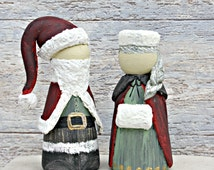 Mr and Mrs Christmas Cake Topper Peg Doll