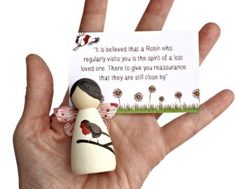 Robin Peg Doll Fairies - Peg Doll - Peg Dolls - Miscarriage gift - Baby loss memorial -Bereaved mum gift - Bereavement Gift - Sympathy Gift