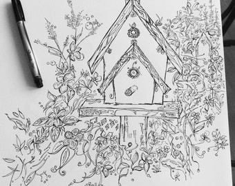 peaceful birdhouses printable coloring spring garden printable instant download original ink pen drawing by - Spring Garden Coloring Pages