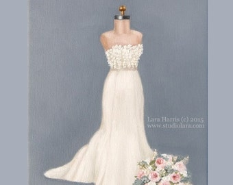 CUSTOM Wedding Dress Illustration Painting in OIL by LARA 11x14 Bridal Sketch Anniversary Gift
