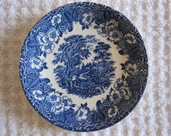 Blue & white vintage English Ironstone Kingswood saucer. Delightful rural scene, English 1960's orphan saucer. Great condition.