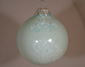 Handmade Porcelain Crystalline Glazed Christmas Ornament Turquoise and Silver One-of-a-Kind
