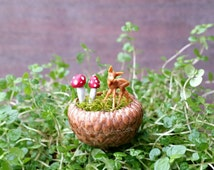 Micro Deer with Mushrooms in Acorn Cap Pot - Fairy Garden Accessories, Miniature Acorns, Faerie Garden Decor, Tiny Mushrooms, Miniature Deer