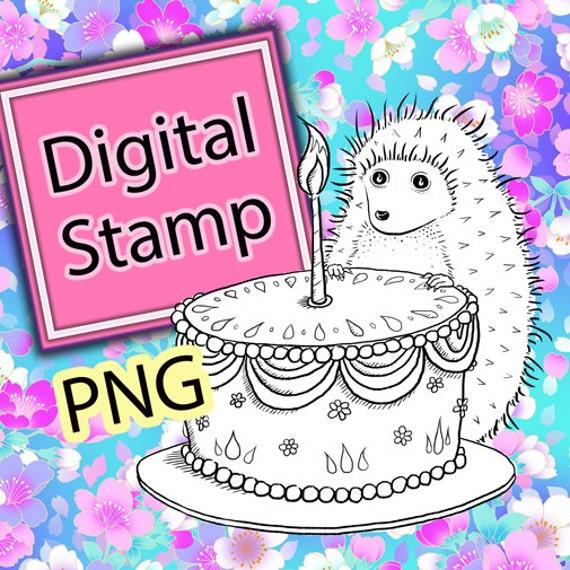 Hedgehog Birthday Digital Stamp Cute Woodland Animal Instant Download Printable Digi Drawing