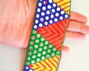 Red Mirrored Fabric Trim With Yellow, Orange , Green And Blue Embroidery With Mirrors, Approx. 55mm Wide, - 140316L171A