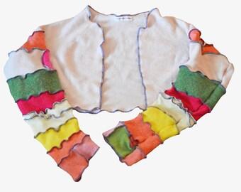 Cashmere Shrug Recycled Sweater Women's Medium/ Large Bolero Repurposed Pink