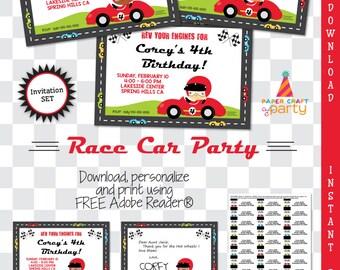 Race Car Invitation | Racing Invite | INSTANT DOWNLOAD & Edit in Adobe Reader | Printable Invite | Paper Craft Party