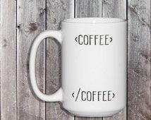 Begin Coffee End Coffee Nerdy Programmer Mug - Html Humor - Gifts for Geeks - Web Developer - Software Engineer - Graphic Design