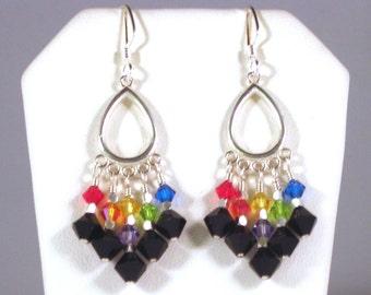 "Sterling Silver Jet Black Rainbow Swarovski Crystal Earrings - 2.25"" Long"