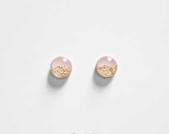 BLUSH & Gold Leaf Round Stud Earrings Circle Floral Bridal Jewelry Bridesmaid Gift Present Glass Like Pearls Resin Elegant Gift