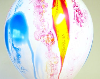 """6 latex 11"""" marble party balloons"""