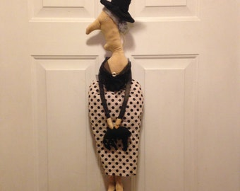 Primitive Halloween Witch with Black Cat Doll or Hanging, Handmade Halloween Witch Doll