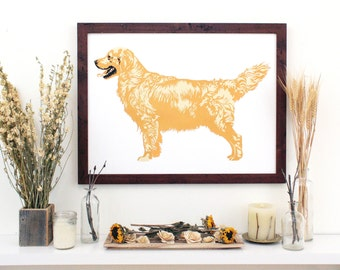 Golden Retriever // Handmade Screen Print. 18x24 Inches. Dog Portrait, Gift for Dog Lovers, Doggie Home Decor.