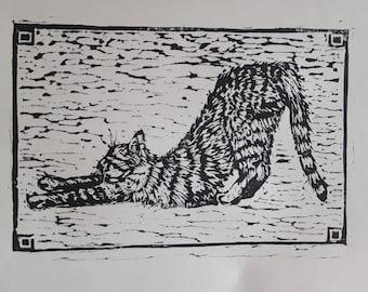 Downward Cat, Linocut Print, Handmade, Yoga, Meditation, Cat