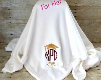 Graduation Blanket - Personalized Blanket - Monogrammed Blanket - Graduation Gift - Gift For Her - Graduate Blanket - 6 Colors- Dorm Blanket