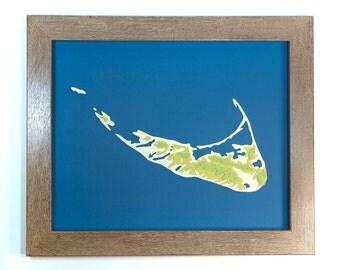 Cut Paper Topography Map of the Nantucket Islands (Original 8x10)