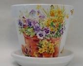 "Handmade Decoupage Terra Cotta Clay Pot, Pansies In A Pot, 6"""
