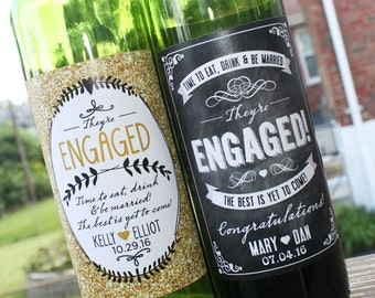 Personalized Engagement Wine Label // Newly Engaged Couple Gift // Engagement Gift // Congratulations // Chalkboard or Sparkle Design