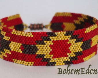 beadwork pattern: Abstract Sunburst Odd-Count Peyote stitch Delica seed bead cuff bracelet pattern. download only. MUST know odd peyote.