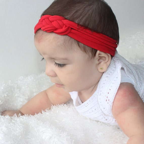 Knotted Christmas Headband, Baby Headband, Red Baby Turban, Knot Headwrap, Baby Turban, Red Headband, Baby Headwrap, Baby Girl Headband