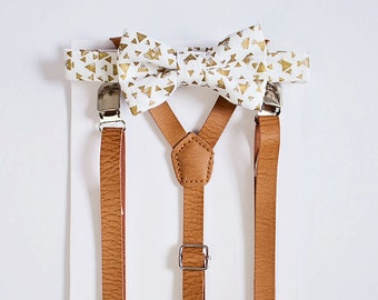 Boys Gold White Bow Tie Tan Leather Suspenders, Kids Adult Bow Tie Suspenders, Ring Bearers Outfits, Baby Boy Bow Tie, Wedding, Boys Bow Tie