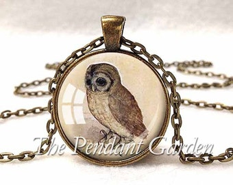 OWL PENDANT Albrect Durer Owl NECKLACE Owl Jewelry Brown Tan Cream Owl Lover Jewelry Durer Art Fine Art Jewelry Bird Lover Gift