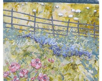 "Sheep Art Print of Original Mixed Media Painting ""Meadow Lands"""