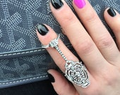 Full finger ring, Statement Ring, Unique Bridal Jewelry, Finger Ring, Knuckle ring,Linked ring,Armor ring,Connected ring,Cocktail ring,SRGS